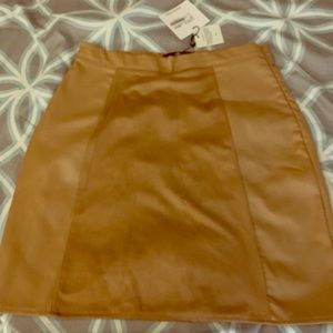 Tan suede panel mini skirt